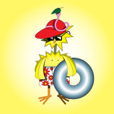 Chicken and worm on the beach. Illustration of chicken and worm on the beach Stock Images