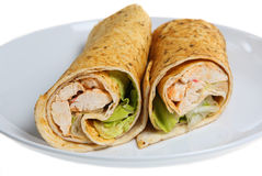 Chicken Wrap. Wrapped sandwich of Cajun chicken Stock Images