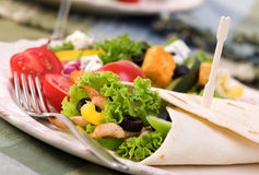 Chicken Wrap. A appetizing chicken wrap with lots of vegetables and a side salad Stock Images