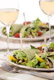 Chicken Wrap. A appetizing chicken wrap with lots of vegetables and a side salad Stock Photo