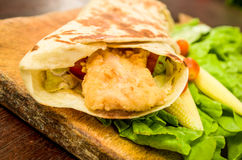 Chicken wrap. Close up on wood Royalty Free Stock Photo