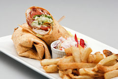 Chicken Wrap and french fries Royalty Free Stock Photography