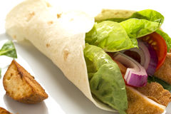 Chicken wrap with fresh vegetables and steak potatoes, on the pl. Ate decorated studio shot Stock Images