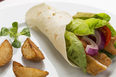 Chicken wrap with fresh vegetables and steak potatoes, on the pl. Ate decorated studio shot Stock Photo