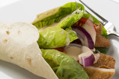 Chicken wrap with fresh vegetables and steak potatoes, on the pl. Ate decorated studio shot Stock Photos