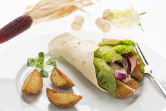 Chicken wrap with fresh vegetables and steak potatoes, on the pl Royalty Free Stock Photo