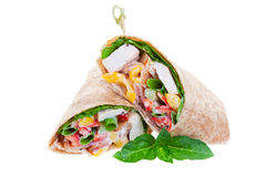 Chicken wrap. Healthy whole wheat chicken wrap on a white background Royalty Free Stock Image