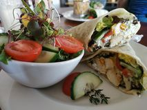 Chicken wrap with salad stock photography