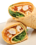 Chicken Wrap Sandwich. Tortilla with chicken in a Thai sweet chilli sauce Stock Images