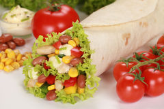 Chicken Wrap Sandwich. Filled with beans, lettuce and corn royalty free stock photos