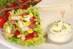 Chicken Wrap Sandwich with dip Stock Photography