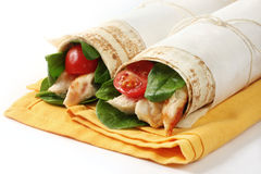 Chicken Wrap Sandwiches Royalty Free Stock Photography