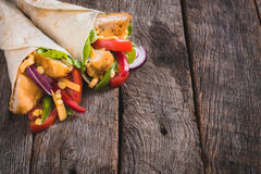 Chicken wrap sandwiches Royalty Free Stock Images