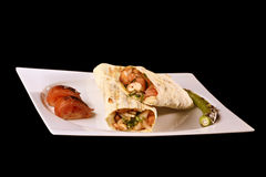 Chicken wrap. Turkish Marinated Grilled Chicken Wrap Royalty Free Stock Photos