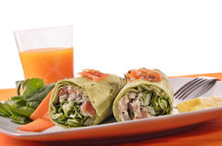 Chicken wrap with vegetables. Isolated on white royalty free stock photo