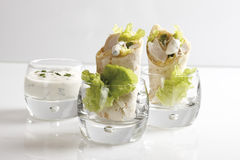 Chicken Wraps in glasses and Yoghurt dip in glass Royalty Free Stock Images