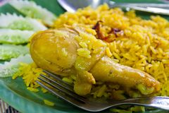 Chicken and yellow rice Stock Photography
