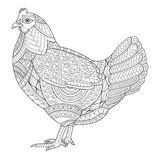 Chicken zentangle stylized for coloring book for adult, tattoo, Royalty Free Stock Photo