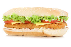 Chickenburger chicken burger cheese isolated Stock Photography