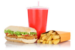 Chickenburger chicken burger and fries menu meal drink isolated Stock Photos