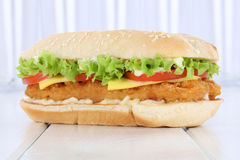 Chickenburger chicken burger hamburger fresh tomatoes lettuce ch Royalty Free Stock Image