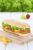 Chickenburger chicken burger hamburger fresh tomatoes lettuce ch Stock Image