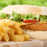 Chickenburger chicken burger hamburger with fries closeup close Stock Photography