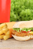 Chickenburger chicken burger hamburger fries menu meal combo fas Royalty Free Stock Photo