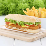 Chickenburger chicken burger hamburger and fries tomatoes lettuc Stock Photos