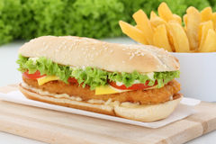 Chickenburger chicken burger hamburger with fries Stock Image
