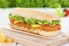 Chickenburger chicken burger hamburger tomatoes lettuce cheese Royalty Free Stock Photos