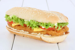 Chickenburger chicken burger hamburger tomatoes lettuce cheese w Royalty Free Stock Photo