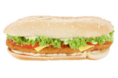 Chickenburger chicken burger tomatoes lettuce cheese isolated Stock Photography