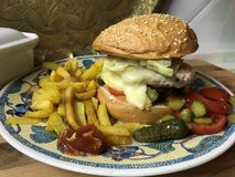Chickenburger con la hamburguesa del pollo, las verduras, la preparación de Dijon y las patatas fritas fotografía de archivo libre de regalías