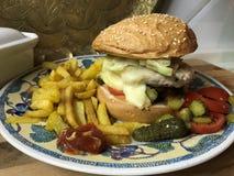 Chickenburger med den fega hamburgaren, grönsaker, den Dijon dressingen och franska småfiskar royaltyfri fotografi