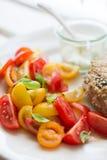 Chickenburger met tomatensalade Royalty-vrije Stock Foto's