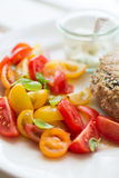Chickenburger met tomatensalade Stock Afbeeldingen