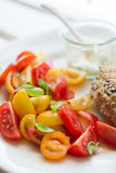 Chickenburger with tomato salad Royalty Free Stock Photos