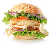 Chickenburger  on the white background Stock Photo