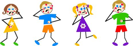 Chickenpox kids. Kids with the pox Royalty Free Stock Photo