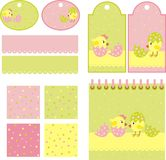 Chickens. Range of backgrounds with chickens stock illustration