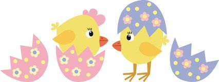 Chickens. Yellow chickens cockleboat for Easter Royalty Free Stock Images