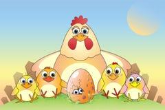 Chickens. Cartoon chickens and eggs, illustration, postcard stock illustration