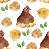 Chickens around quail easter watercolor seamless pattern