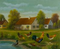 Chickens and ducks at a pond in front of three houses vector illustration