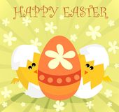 Chickens and easter egg. Funny chickens and easter egg Stock Photos
