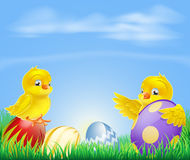 Chickens and Easter eggs Background Stock Photography