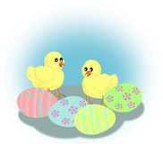 Chickens and Easter Eggs Royalty Free Stock Image