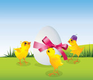 Chickens and egg on meadow Stock Image