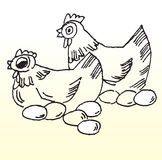 Chickens and Eggs Line Sketch. Line drawing of two chickens and eggs stock illustration